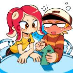 1boy 1girl badge baseball_cap bike_shorts blank_eyes blush button_badge chair crossed_arms domino_mask fang flying_sweatdrops full-face_blush hat highres holding holding_phone inkling lkll long_sleeves looking_at_another mask medium_hair octarian octoling open_mouth orange_eyes orange_hair phone redhead shirt short_sleeves single_vertical_stripe sparkle splatoon_(series) suction_cups sweat sweater t-shirt table v-shaped_eyebrows yellow_shirt