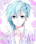 1boy blue_eyes blue_hair character_name commentary_request eyebrows_visible_through_hair face floral_background floral_print flwoer hair_between_eyes happy_birthday highres looking_at_viewer male_focus medium_hair mikaze_ai shiki925 shirt solo uta_no_prince-sama white_background white_shirt