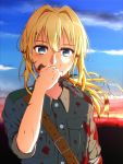 1girl blonde_hair blood bloody_clothes bloody_hair bloody_weapon blue_eyes blue_sky clouds day floating_hair grey_jacket hair_between_eyes holding holding_knife jacket knife long_hair looking_at_viewer military_jacket neko_no_sora outdoors sky sleeves_rolled_up solo upper_body violet_evergarden violet_evergarden_(character) weapon