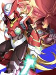 3boys absurdres albert_w_wily android blonde_hair blue_eyes capcom colonel energy_sword facial_hair gloves hat helmet highres holding holding_weapon jie_laite lightsaber long_hair male_focus multiple_boys mustache red_eyes rockman rockman_x rockman_x4 sword very_long_hair weapon white_gloves zero_(rockman)
