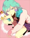 1boy aqua_eyes aqua_hair black_legwear brown_footwear commentary_request cream crossdressing earrings eyebrows_visible_through_hair food from_above fruit heart heart_earrings highres holding holding_food jewelry kneehighs licking long_hair looking_at_viewer male_focus mikaze_ai necktie pink_skirt pink_sweater polka_dot polka_dot_neckwear shoes skirt sleeves_past_wrists solo sweater tongue tongue_out uta_no_prince-sama uz_saba