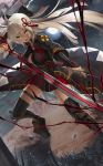 1girl ahoge arm_guards black_bow black_coat boots bow breasts cleavage cleavage_cutout commentary_request dark_skin dutch_angle fate/grand_order fate_(series) hair_between_eyes hair_bow high_collar highres holding holding_sword holding_weapon katana koha-ace large_breasts long_hair moon night night_sky okita_souji_(alter)_(fate) okita_souji_(fate)_(all) open_mouth sky solo sukocchi sword tassel thigh-highs thigh_boots thigh_strap tied_hair weapon white_eyes white_hair