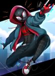 1boy artist_name belt black_belt black_legwear blue_jacket bodysuit commentary english_commentary highres hood hood_up hooded_jacket jacket mask miles_morales pants red_hoodie reizdrawing shoes silk sneakers spider-man spider-man:_into_the_spider-verse spider-man_(series) spider_web spider_web_print superhero
