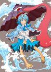 blue_hair blush capelet fuyuno_(kiddyland) geta heterochromia highres holding holding_umbrella juliet_sleeves karakasa_obake long_sleeves puffy_sleeves short_hair tatara_kogasa touhou umbrella