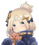 1girl :t abigail_williams_(fate/grand_order) bangs black_bow black_jacket blonde_hair blue_eyes blush bow closed_mouth commentary_request crossed_bandaids fate/grand_order fate_(series) hair_bow hair_bun hands_up head_tilt heroic_spirit_traveling_outfit holding holding_stuffed_animal jacket long_hair long_sleeves looking_at_viewer okada_shou orange_bow parted_bangs polka_dot polka_dot_bow pout simple_background sleeves_past_fingers sleeves_past_wrists solo stuffed_animal stuffed_toy teddy_bear white_background