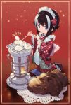 1girl 2019 animal animal_ears apron blanco026 blue_eyes boar brown_hair chinese_zodiac chopsticks commentary cushion extra_ears floral_print flower food grill grilling hair_flower hair_ornament highres holding holding_chopsticks japanese_clothes kimono kneeling long_sleeves looking_at_viewer maid_headdress multicolored_hair nengajou new_year open_mouth original red_background red_kimono sandals smile solo streaked_hair tabi tofu two-tone_hair wa_maid white_hair wide_sleeves wooden_floor year_of_the_pig