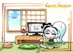 1girl =_= barefoot basket blue_sky chibi clouds commentary_request desk_lamp english_text food fruit green_skirt green_vest hair_ribbon indoors karakasa_obake kashuu_(b-q) konpaku_youmu konpaku_youmu_(ghost) lamp monitor on_floor open_mouth open_window palanquin_ship peach pillow ribbon shirt short_sleeves sitting skirt sky solo sweatdrop tatami touhou umbrella vest white_hair white_shirt window