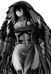 1girl banshee_(monster_girl_encyclopedia) bare_shoulders black_dress black_hair black_legwear breasts detached_sleeves dress fur_trim greyscale hair_between_eyes heart heart-shaped_pupils highres large_breasts long_hair monochrome monster_girl monster_girl_encyclopedia navel pale_skin pointy_ears see-through side_slit simple_background skull solo symbol-shaped_pupils tears thigh-highs undead veil white_background wide_sleeves zakirsiz
