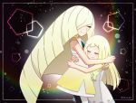 2girls akika_821 blonde_hair closed_eyes creatures_(company) game_freak highres hug lillie_(pokemon) mother_and_daughter multiple_girls nintendo pokemon pokemon_(game) pokemon_sm