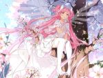 absurdly_long_hair blue_sky cherry_blossoms dress drinking goddess_madoka high_heels hoshii_hisa in_tree kaname_madoka long_hair mahou_shoujo_madoka_magica milk_carton pink_hair sitting sitting_in_tree sky thigh-highs tree twintails very_long_hair white_dress white_legwear yellow_eyes