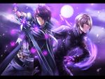 2boys arm_belt ateliae belt black_pants brown_eyes bug butterfly cape earrings epic epic7 fingerless_gloves gloves hair_over_one_eye holding holding_sword holding_weapon insect jewelry long_sleeves looking_at_viewer looking_to_the_side male_focus moon multiple_boys outdoors pants purple_background purple_hair purple_sky sez_(epic7) smirk standing stud_earrings sword violet_(epic7) weapon
