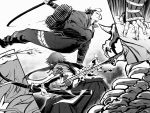 2boys closed_mouth enemy_tantou greyscale hakama highres japanese_clothes jikan_sokougun jumping jumpsuit long_hair male_focus monochrome multiple_boys nihongou_(touken_ranbu) polearm ponytail skeleton spear tan_matsu tantou tonbokiri_(touken_ranbu) touken_ranbu weapon yari