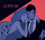 2019 arm_around_shoulder arsene_lupin_iii bare_shoulders bracelet breasts buzz_cut chest_hair cigarette commentary copyright_name dress earrings english_commentary flat_color formal jewelry lips lipstick long_hair looking_at_viewer lupin_iii makeup mine_fujiko monkey_punch nail_polish necktie pac-man_eyes shirt sleeveless sleeveless_dress smile suit tie_clip valantains