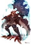 1boy absurdres animal_pelt armor axe berserk brown_eyes brown_hair cape clenched_hand fur_trim gauntlets granblue_fantasy greaves highres holding holding_axe holding_weapon male_focus open_mouth over_shoulder pelt shiba_(s_hi_ba_) signature smile solo standing teeth tongue twitter_username vambraces weapon weapon_over_shoulder wolf_pelt