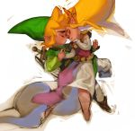1boy 1girl blonde_hair boots chibi commentary_request dress elbow_gloves forehead-to-forehead gloves hand_holding hat highres korean_commentary link long_dress nintendo pants pelvic_curtain pointy_ears princess_zelda signature sword the_legend_of_zelda the_legend_of_zelda:_the_wind_waker thick_eyebrows toon_link tto_ja tunic weapon weapon_on_back white_gloves white_pants