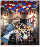>_< 6+girls arms_up balloon banner blonde_hair blue_eyes blue_hair boots brown_hair closed_eyes commentary_request double_bun dress elbow_gloves english_text flag gambier_bay_(kantai_collection) gloves hairband hat highres intrepid_(kantai_collection) iowa_(kantai_collection) johnston_(kantai_collection) kantai_collection kitsuneno_denpachi long_hair long_sleeves multiple_girls open_mouth outstretched_arms photo_(object) sailor_hat samuel_b._roberts_(kantai_collection) saratoga_(kantai_collection) school_uniform serafuku short_hair short_sleeves shorts side_ponytail sleeveless smile standing star thigh-highs translation_request twintails