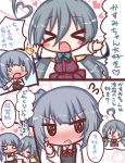 >_< /\/\/\ 2girls :d ahoge black_dress blue_bow blush blush_stickers bow chibi closed_eyes closed_mouth collared_shirt comic commentary_request dress emphasis_lines expressive_hair grey_hair heart kantai_collection kasumi_(kantai_collection) kiyoshimo_(kantai_collection) komakoma_(magicaltale) long_hair long_sleeves low_twintails multiple_girls nose_blush open_mouth outstretched_arms pinafore_dress pleated_dress purple_dress red_bow remodel_(kantai_collection) school_uniform shirt side_ponytail sleeveless sleeveless_dress smile spread_arms surprised translation_request twintails very_long_hair wavy_mouth white_shirt xd