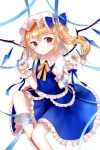 1girl alternate_color arm_ribbon arms_up blonde_hair blue_nails blue_skirt blue_vest crystal curled_fingers expressionless eyebrows_visible_through_hair feet_out_of_frame fingernails flandre_scarlet frilled_skirt frilled_vest frills hair_between_eyes hair_ribbon hat highres knee_up leg_ribbon looking_at_viewer mob_cap nail_polish neck_ribbon pale_skin parted_lips petticoat pointy_ears puffy_short_sleeves puffy_sleeves red_eyes ribbon sakipsakip shirt short_hair short_sleeves side_ponytail simple_background sitting skirt solo touhou triangle_mouth vest white_background white_headwear white_shirt wings wrist_cuffs yellow_neckwear