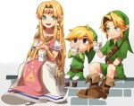 1girl 2boys ahoge belt blue_eyes boots bottle bracer brown_footwear chibi crossover dress drinking dual_persona earrings full_body green_eyes hair_intakes hat highres jewelry link long_dress milk milk_bottle multiple_boys nintendo pelvic_curtain pointy_ears sitting smile super_smash_bros. the_legend_of_zelda the_legend_of_zelda:_a_link_between_worlds the_legend_of_zelda:_ocarina_of_time the_legend_of_zelda:_the_wind_waker toon_link triforce tunic young_link zozy_yy