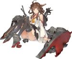 1girl ahoge bare_shoulders black_legwear blush boots breasts brown_hair cannon detached_sleeves double_bun frilled_skirt frills frown full_body hair_ornament hairband headgear high_heels japanese_clothes kantai_collection kongou_(kantai_collection) konishi_(koconatu) large_breasts long_hair nontraditional_miko official_art open_mouth panties ribbon ribbon-trimmed_sleeves ribbon_trim sash skirt solo thigh-highs thigh_boots torn_clothes torpedo_launcher transparent_background turret underwear white_panties wreckage zettai_ryouiki