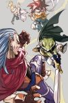 1girl 3boys blonde_hair blue_eyes blue_shirt bow_(weapon) brown_gloves cape chrono_trigger crono crossbow earrings fighting frog gloves grey_background hankuri headband jewelry jumping kaeru_(chrono_trigger) long_hair looking_at_another magus marle multiple_boys open_mouth outstretched_hand pants pointy_ears ponytail purple_hair purple_pants redhead shirt simple_background sleeveless spiky_hair sword weapon yellow_neckwear
