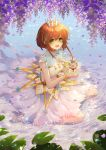 1girl barefoot blush breasts brown_hair card_captor_sakura dress eyebrows_visible_through_hair green_eyes highres jii_dayday kinomoto_sakura looking_at_viewer open_mouth short_hair short_hair_with_long_locks sitting skirt sleeveless small_breasts smile wariza water white_dress white_skirt