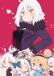 >:) >_< >_o 0_0 6+girls ;3 =_= ahoge bangs bell beni_shake black_dress black_jacket blonde_hair blue_jacket blush bow braid breasts chibi closed_eyes closed_mouth commentary_request dress eyebrows_visible_through_hair fate/grand_order fate_(series) fur-trimmed_jacket fur-trimmed_sleeves fur_trim green_bow green_ribbon hair_between_eyes hair_bow hand_on_hip headpiece heart hood hood_down hooded_jacket jacket jeanne_d'arc_(alter)_(fate) jeanne_d'arc_(alter_swimsuit_berserker) jeanne_d'arc_(fate) jeanne_d'arc_(fate)_(all) jeanne_d'arc_(swimsuit_archer) jeanne_d'arc_alter_santa_lily long_hair long_sleeves medium_breasts multiple_girls one_eye_closed open_clothes open_jacket orange_eyes puffy_short_sleeves puffy_sleeves purple_jacket ribbon short_sleeves single_braid sleeves_past_wrists smile striped striped_bow striped_ribbon v-shaped_eyebrows very_long_hair white_hair white_jacket wicked_dragon_witch_ver._shinjuku_1999 wide_sleeves
