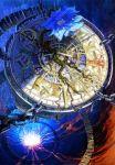 blood blood_splatter bloody_weapon blue_flower bridge chains clock flower gears glowing molten_rock mugon no_humans original plant rock screw spiral sword vines weapon wood
