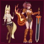 2girls abs absurdres animal_ears armor artist_name belt blonde_hair blush breasts cleavage commission dark_skin elbow_gloves eyebrows_visible_through_hair facial_scar fanny_pack fiery_tail fire fox_ears fox_girl fox_tail full_body gloves grin hair_ribbon hands_on_hips head_fins highres holding holding_sword holding_weapon inari_(monster_girl_encyclopedia) jewelry large_breasts lizard_girl lizard_tail long_hair medium_breasts monster_girl monster_girl_encyclopedia multiple_girls parted_lips ponytail revealing_clothes ribbon salamander_(monster_girl_encyclopedia) scales scar shirt simple_background smile sword tail weapon wlper