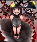 absurdres bananaconductor black_dress black_hair bob_cut breasts broken broken_chain chain chain_chomp chains cleavage_cutout cuffs dress grin highres huge_filesize large_breasts looking_at_viewer princess_chain_chomp shackles sharp_teeth smile super_crown teeth