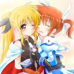 2girls blonde_hair blush closed_eyes couple fate_testarossa happy kerorokjy long_hair looking_at_another lyrical_nanoha mahou_shoujo_lyrical_nanoha mahou_shoujo_lyrical_nanoha_a's multiple_girls orange_hair red_eyes short_twintails simple_background smile takamachi_nanoha twintails yuri