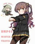 2girls chibi chinese_commentary commentary_request english_text fighting_stance flying_kick girls_frontline jacket kicking kung_fu multiple_girls plug_(feng-yushu) siblings sisters twitter_username ump40_(girls_frontline) ump45_(girls_frontline)