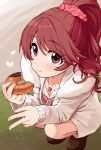 1girl blush brown_eyes brown_hair coat collarbone commentary doughnut eating eyebrows_visible_through_hair food full_body fur_trim grass hair_ornament hair_scrunchie heart heart_necklace highres holding holding_food idolmaster idolmaster_cinderella_girls jewelry loafers long_hair looking_at_viewer necklace omaru_gyuunyuu open_clothes open_coat ponytail scrunchie shiina_noriko shoes smile solo squatting v
