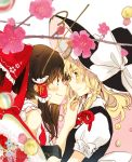 2girls bangs bare_shoulders black_hair black_headwear black_vest blonde_hair bow box brown_eyes commentary_request eye_contact eyebrows_visible_through_hair flower frilled_bow frilled_shirt_collar frills from_side hair_between_eyes hair_bow hair_ribbon hair_tubes hakurei_reimu hand_up hat hat_bow highres holding holding_box holding_foot kirisame_marisa long_hair looking_at_another multiple_girls pink_background pink_flower poprication profile puffy_short_sleeves puffy_sleeves red_bow red_ribbon ribbon shirt short_sleeves sidelocks smile touhou two-tone_background upper_body vest white_background white_bow white_shirt witch_hat yellow_eyes yuri