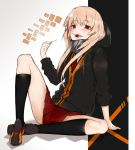 1girl bangs black_jacket candy ekuesu food girls_frontline highres holding hood hoodie jacket kneehighs lollipop long_hair looking_at_viewer m4_sopmod_ii_(girls_frontline) mechanical_arm multicolored_hair necktie open_mouth orange_footwear pink_hair prosthesis prosthetic_arm red_eyes red_neckwear red_skirt shoes skirt solo streaked_hair