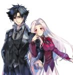 1boy 1girl black_coat black_eyes black_hair black_jacket black_neckwear black_ribbon coat collared_shirt couple emiya_kiritsugu fate/zero fate_(series) grey_shirt hair_intakes hand_in_pocket irisviel_von_einzbern jacket locked_arms long_hair long_sleeves looking_at_viewer lowres neck_ribbon necktie open_clothes open_coat parted_lips red_eyes red_jacket ribbon shida_(xwheel) shirt silver_hair simple_background sketch skirt smile very_long_hair white_background white_skirt wing_collar