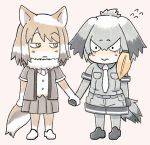 2girls 3: :  animal_ears bangs bird_tail blonde_hair chibi closed_mouth commentary_request edano_kiui elbow_gloves eyebrows_visible_through_hair flying_sweatdrops fox_ears fox_tail fur_collar gloves grey_hair grey_shirt grey_shorts hair_between_eyes hand_holding highres jitome kemono_friends light_brown_hair looking_at_another low_ponytail medium_hair multicolored_hair multiple_girls necktie pink_background pleated_skirt shirt shoebill_(kemono_friends) shorts side_ponytail simple_background skirt tail tibetan_sand_fox_(kemono_friends) wavy_mouth white_hair white_neckwear