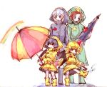 alternate_costume blonde_hair blue_hair child contemporary flandre_scarlet hong_meiling izayoi_sakuya multiple_girls puddle rainbow raincoat red_hair redhead remilia_scarlet rough rubber_boots silver_hair splash star tima touhou umbrella wings