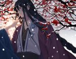 1boy black_hair braid flower hands lemeiet_(sablecat) long_hair looking_to_the_side male_focus original outdoors red_eyes snowing standing tree upper_body very_long_hair wide_sleeves