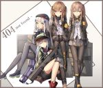 404 4girls absurdres assault_rifle bag bkyuuc black_footwear black_headwear black_legwear black_neckwear black_ribbon black_shorts blush boots brown_eyes brown_hair brown_jacket closed_eyes commentary cross eyebrows_visible_through_hair full_body g11_(girls_frontline) girls_frontline green_eyes green_headwear gun h&k_g11 hair_between_eyes hair_ornament hat highres http_status_code jacket multiple_girls one_side_up panties ribbon rifle shirt shoes shorts side_ponytail sitting sleeping smile standing thigh-highs twintails ump45_(girls_frontline) ump9_(girls_frontline) underwear weapon white_hair white_shirt yellow_eyes