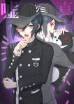 1boy absurdres back-to-back baseball_cap black_hair black_jacket brown_eyes commentary_request danganronpa evil_grin evil_smile eyebrows_visible_through_hair eyelashes grin hair_between_eyes hat highres holding jacket long_sleeves looking_at_viewer male_focus monokuma nanin new_danganronpa_v3 pale_skin red_eyes saihara_shuuichi school_uniform smile teeth translation_request upper_body