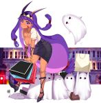 1girl absurdres animal_ears bag blush breasts cleavage contemporary dark_skin earrings facepaint facial_mark fate/grand_order fate_(series) high_heels highres holding jackal_ears jewelry large_breasts long_hair looking_at_viewer medjed necklace nitocris_(fate/grand_order) pencil_skirt polka_dot purple_hair shopping_bag sidelocks skirt smile solo violet_eyes yuruto