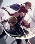 1boy 1girl bent_over black_footwear black_jacket black_pants blazer blue_eyes boots brown_hair bruise bruise_on_face china_dress chinese_clothes closed_umbrella dress floating_hair gintama grey_background holding holding_sword holding_umbrella holding_weapon injury jacket kagura_(gintama) katana knee_boots long_sleeves looking_at_viewer okita_sougo open_blazer open_clothes open_jacket oriental_umbrella pants purple_umbrella red_dress red_eyes short_hair short_sleeves sword szzz_k umbrella weapon white_neckwear