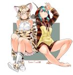 2girls animal_ear_fluff animal_ears aqua_hair bangs bare_legs bare_shoulders barefoot blonde_hair bow bow_footwear bowtie cat_ears cat_tail commentary drawstring elbow_gloves eyebrows_visible_through_hair full_body gloves hair_between_eyes high-waist_skirt highres hood hood_up hoodie japari_coin japari_symbol kemono_friends legs long_sleeves mabbakmoe multicolored_hair multiple_girls print_gloves print_neckwear print_skirt sand_cat_(kemono_friends) sand_cat_print shirt short_hair simple_background sitting skirt sleeveless sleeveless_shirt snake_tail socks striped_hoodie striped_tail tail tsuchinoko_(kemono_friends) white_shirt yellow_eyes