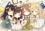 4girls :d ;3 ;t ^_^ animal_ear_fluff animal_ears black_sailor_collar blonde_hair blue_flower blush bow brown_bow brown_eyes brown_hair cat_ears chibi closed_eyes closed_eyes closed_mouth collared_shirt commentary_request doughnut dress drooling flower food frilled_dress frilled_pillow frills green_dress hair_bow hair_flower hair_ornament hairclip highres kemonomimi_mode kneehighs locked_arms long_hair long_sleeves lying mouth_drool multiple_girls on_back on_side open_mouth original parted_lips pillow polka_dot pout sailor_collar sailor_dress sakura_oriko shirt short_sleeves sleeveless sleeveless_dress smile star very_long_hair white_dress white_flower white_legwear white_shirt wide_sleeves