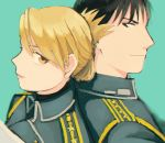 1boy 1girl amestris_military_uniform aqua_background black_eyes black_hair blonde_hair blurry brown_eyes close-up commentary depth_of_field earrings eyelashes face folded_ponytail fullmetal_alchemist jewelry light_smile looking_at_another looking_back military military_uniform ozaki_(tsukiko3) profile riza_hawkeye roy_mustang simple_background smile spiky_hair tied_hair uniform upper_body