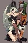 1boy 1girl alex_ahad all_fours animal_ears bare_shoulders basket black_footwear blush boots breasts bunnysuit cleavage crossdressing drooling easter emil_(nier) fake_animal_ears gloves grey_background high_heels highres large_breasts leotard mole mole_under_mouth nier_(series) nier_automata parted_lips pod_(nier_automata) rabbit_ears reclining saliva short_hair silver_hair simple_background sitting stepped_on thigh-highs yorha_no._2_type_b yorha_no._9_type_s