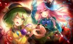2girls 60mai :< aqua_shirt arm_up aura bangs black_headwear blue_bow blue_neckwear blush bow bowtie breasts commentary_request eyebrows_visible_through_hair fan folding_fan fox_mask frilled_shirt_collar frilled_sleeves frills green_eyes green_hair hair_between_eyes hat hat_bow hata_no_kokoro heart heart_of_string holding holding_fan komeiji_koishi long_hair long_sleeves looking_at_viewer mask mask_on_head medium_breasts multiple_girls open_mouth pink_eyes pink_hair plaid plaid_shirt shirt short_hair small_breasts smile star tassel tengu_mask touhou v-shaped_eyebrows wide_sleeves yellow_bow yellow_shirt