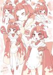 1girl :o ^_^ apron bangs benienma_(fate/grand_order) blush chibi closed_eyes closed_eyes closed_mouth commentary_request eating eyebrows_visible_through_hair fate/grand_order fate_(series) food geta hand_to_own_mouth hat holding holding_food japanese_clothes kimono koruri long_hair long_sleeves low_ponytail monochrome multiple_views nose_blush object_hug ohitsu onigiri open_mouth parted_lips platform_footwear rice_spoon short_kimono smile socks standing tabi translation_request upper_teeth v-shaped_eyebrows wide_sleeves