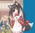 2girls animal_ears apron bangs black_hair blonde_hair blue_kimono blush bottle brown_eyes closed_eyes commentary_request eyebrows_visible_through_hair eyepatch fang fox_ears fox_girl fox_tail frilled_apron frills green_hakama hair_between_eyes hakama heart holding holding_bottle japanese_clothes kimono ladle long_hair long_sleeves mitoko_(kuma) multiple_girls nose_blush open_mouth original parted_lips polka_dot polka_dot_kimono red_kimono tail twintails v-shaped_eyebrows very_long_hair white_apron wide_sleeves